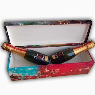 Caja De Madera Personalizada Con Bebida!! (champagne)
