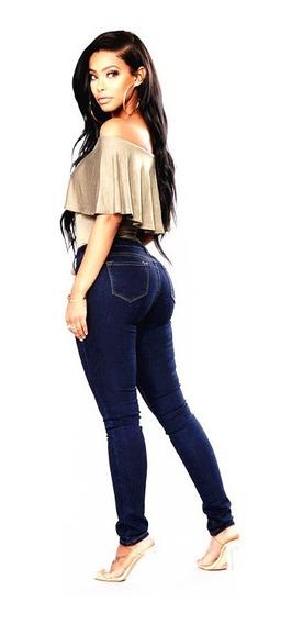 Jean Mujer Azul Chupin Elastizado Tiro Alto Talle 36 A 50