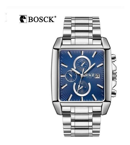 Relógio Analógico Bosck 3133a Masculino Quad Aço Cromo Azul
