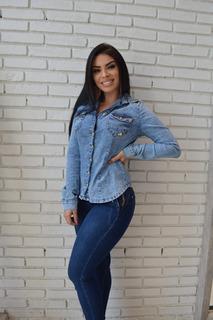 Camisa Jeans Sol Manga Longa Com Lycra E Trançado Costas Azu