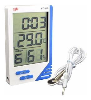 Termómetro. Higrómetro Digital Con Sonda. Humedad Reloj !!