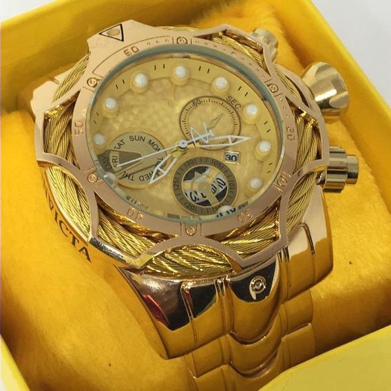 Relógio Masculino Dourado Robusto Aço +caixa Personalizada