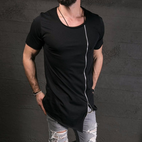 a82d5d15ff Camiseta Masculina Oversized Longline Swag C  Ziper Courage