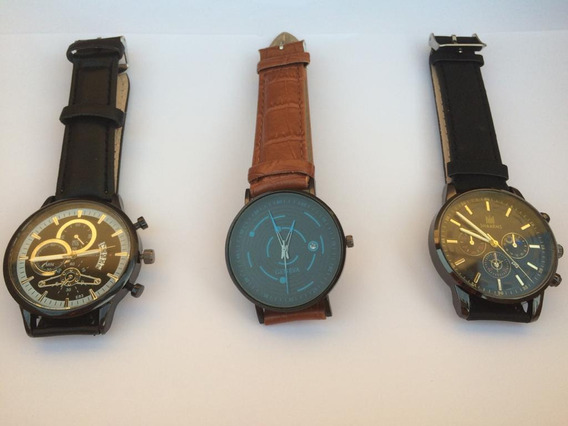 Relógio Estilo Casual, Pulseira De Couro. Escolha Um.