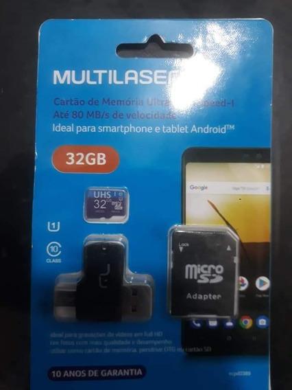 Cartão De Memória Multilaser 32gb Com Adaptadror Usb