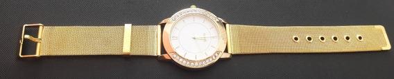 Relógio De Pulso Feminino Dourado Quartz