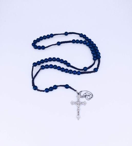 Terço Macramé Pérola Azul Bic 55cm