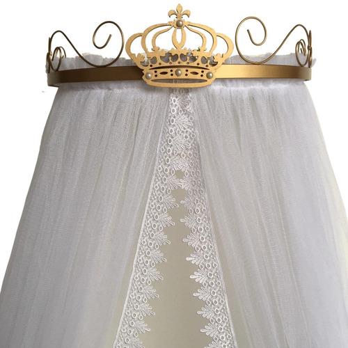 Imagem 1 de 5 de Kit Dossel De Coroa Dourado + Mosquiteiro Tule Guipir Promo