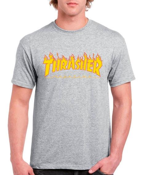 Playera Thrasher Negro, Blanco, Gris, Vino Flame