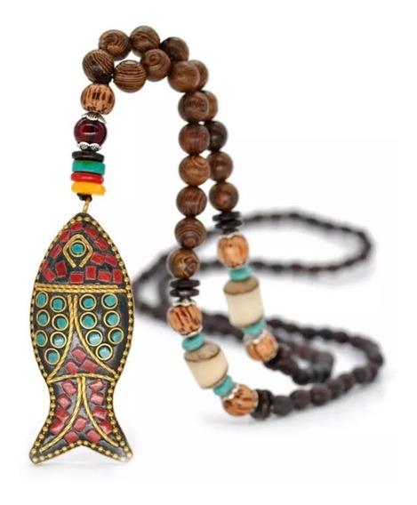 Collar Pez, Abundancia Protección Tibetano Rezo Budista.
