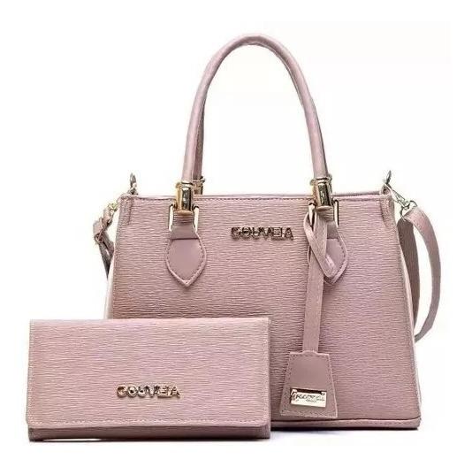 Bolsa Feminina Gc De Luxo Rosê Média + Carteira C/garantia