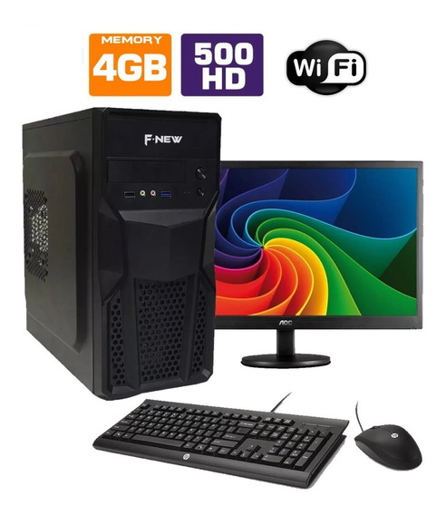 Computador Completo Intel Dual Core 4gb Hd500gb Monitor Wifi