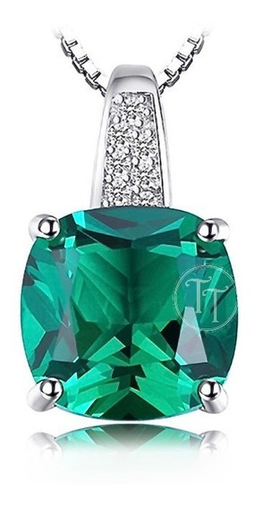 Collar Cojín Esmeralda 3.12 Ct En Plata Esterlina 925