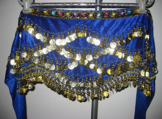 Caderín Danza Árabe Ondulado Chifon Piedras 5 Filas Monedas
