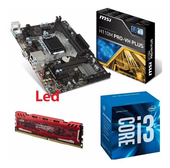Kit Intel I3 7100 + Mb H110m Pro-v Plus Ddr4 + 8gb 2400 Mhz