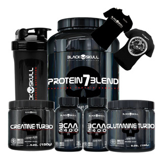 Combo Whey 7blend+2bcaa+creatina+glutamina+camisa Blackskul