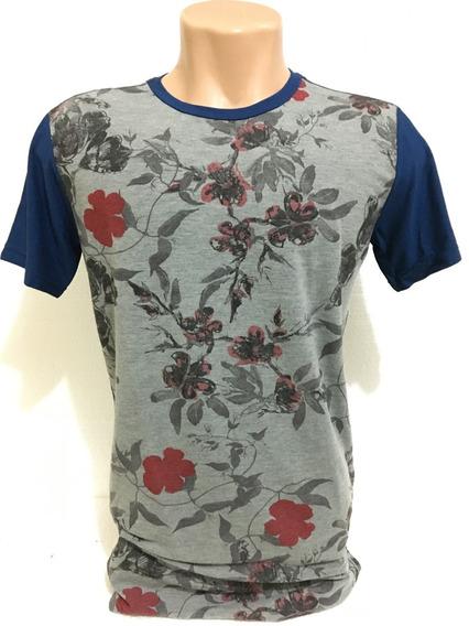 Camiseta Floral Longline Alongada Oversized Swag
