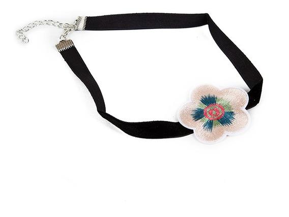 Pack Choker Collar Negro Terciopelo Con Flor Moda X12u