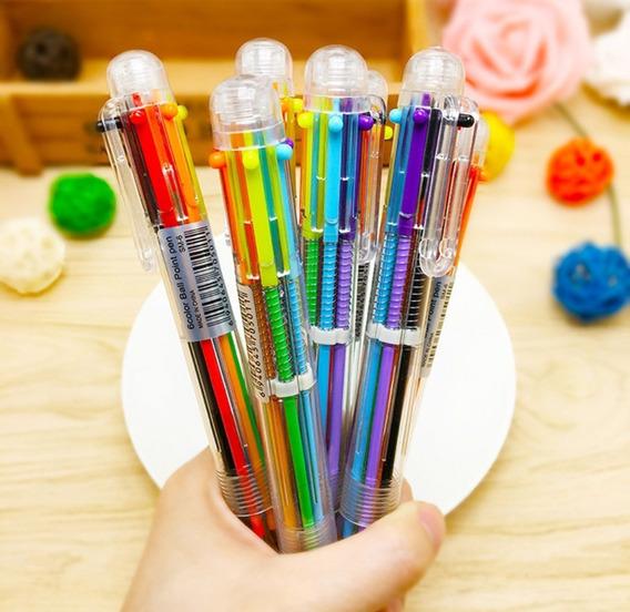 Canetas Esferográfica Colorida 6 Cores Multicolor 6 Em 1