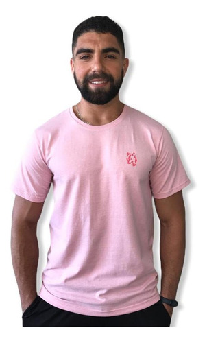 Camiseta Masculina Lobo Comfort Rosa T003