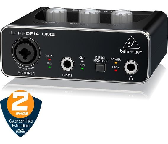 Interface De Áudio Usb Behringer U-phoria Um2 Profissional