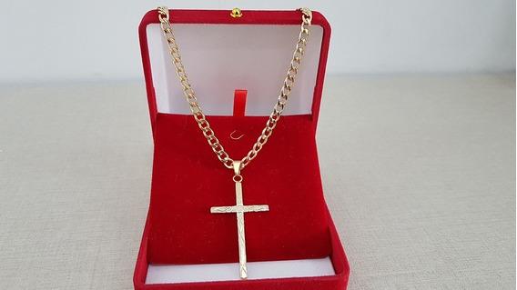 Corrente Crucifixo Cordão Masculino Folheado Ouro - 6656