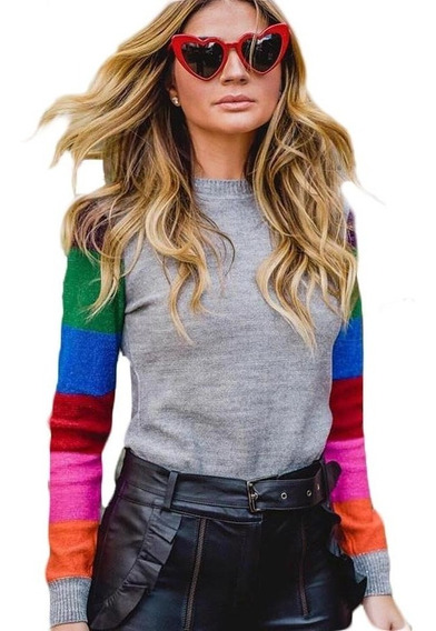 Blusa Tricot Tricô Colorido Estiloso Blogueira Fio Lurex Top