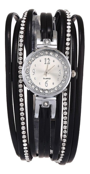 Luxo Strass Couro Mulheres Relógio De Pulso Da Moda Watch Pr