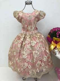 Vestido Festa Infantil Renda Rosa Rose Dourado Luxo