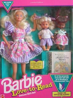 Juego De Regalo Barbie Love To Read Deluxe W 3 Dolls Y Mini
