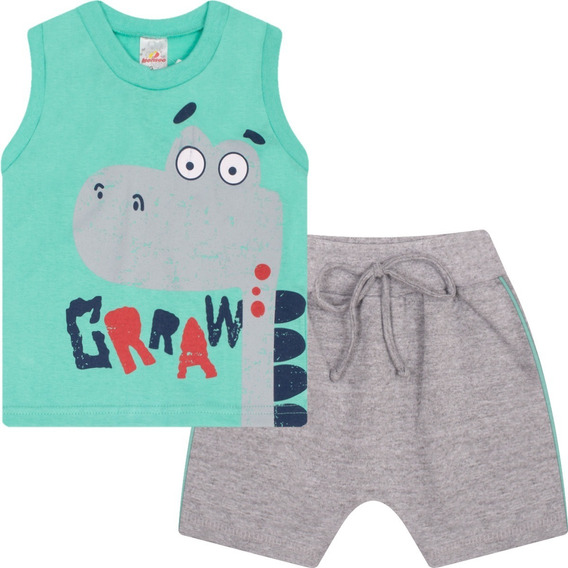 Roupa Bebê Menino Conjunto Camiseta Machão E Bermuda Isensee