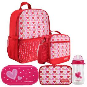 Mochila Escolar Infantil Feminina Vermelha + Lancheira E +