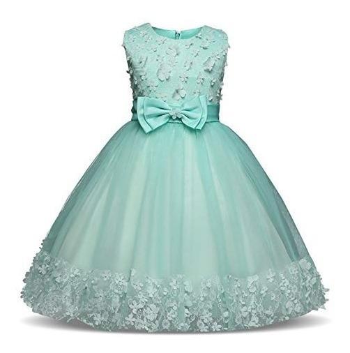 Vestido Para Niña Fiesta Boda Xv Princesa Aqua Moño