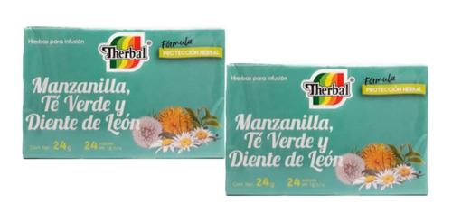 Té Manzanilla, Verde Y Diente De Leon 2 Cajas Therbal Full