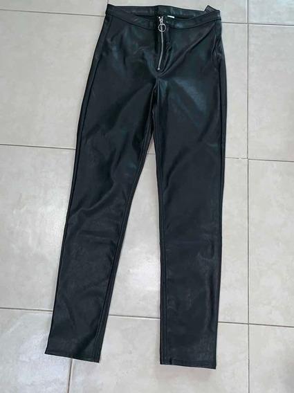 Pantalón De Piel Cintura Alta H&m Leggings Entubado