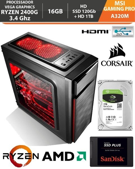Pc Gamer Ryzen 5 2400g 3.4ghz 16gb A320m Am4 Ssd120gb+hd 1tb