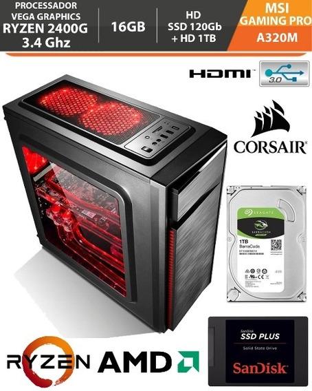Pc Gamer Ryzen 5 2400g 3.4ghz 16gb A320m Am4 Ssd240gb+hd 1tb