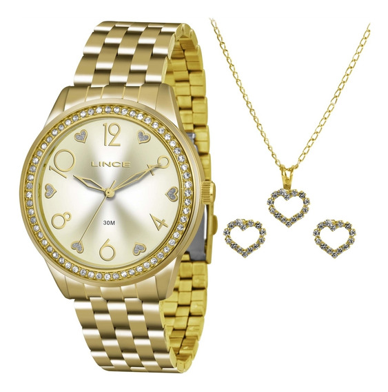 Relógio Lince Lrg4370l K168 + Kit Gargantilha E Brincos Aço