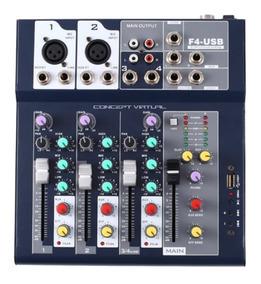 Mesa De Som 4 Canais Mp3 Estéreos C/ Efeitos Usb Le-710 + Nf