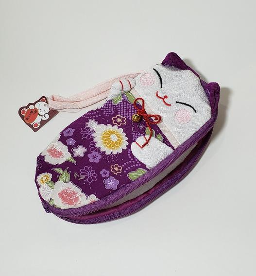 Estojo Necessaire Gato Japonês Maneki Neko Tecido Kimono