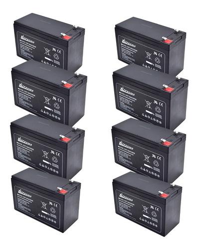 Imagen 1 de 9 de Pack De 8 Baterias Para Alarmas 12v 7ah