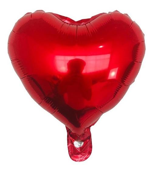 10 Globos Metálicos 25cm De Forma Corazón Ideal Decoración