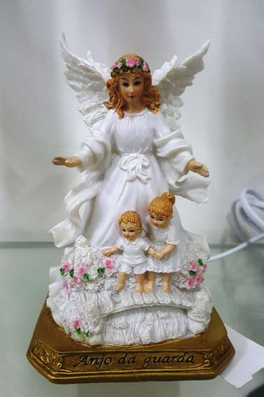 Abajur Imagem Santo Anjo Da Guarda Resina 15cm Com Luz