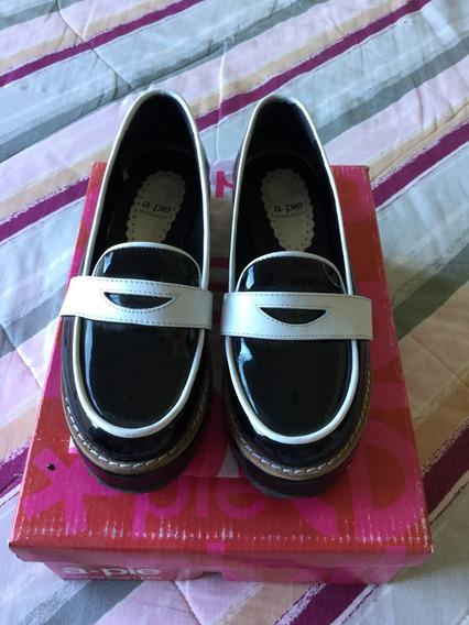 Zapatos American Pie Mocasines Negro Y Blanco