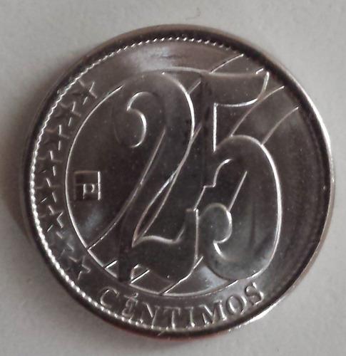 Moneda Venezuela 25 Céntimos 2007 Relieve Plano Unc