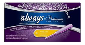 Absorvente Always Platinum Absorvente Interno Regular - 8 Un