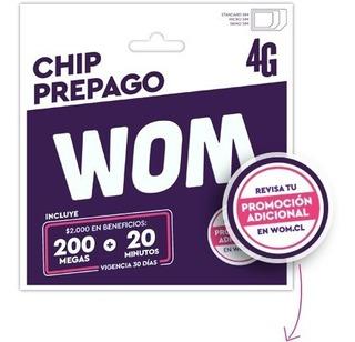 Chip Wom Pack 100 Und 20min+200mb Tecnohogarexpress