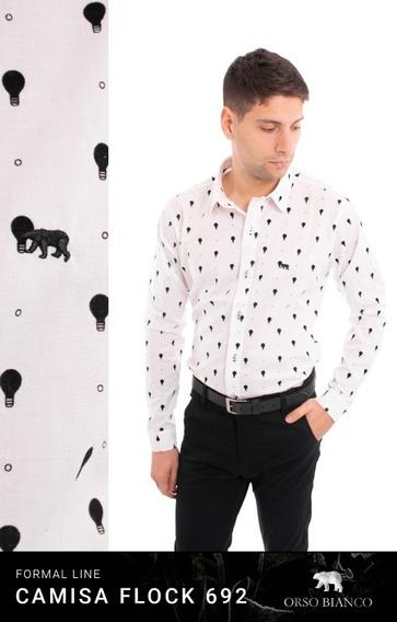 Camisa Hombre Slim Fit Focos Orso Bianco