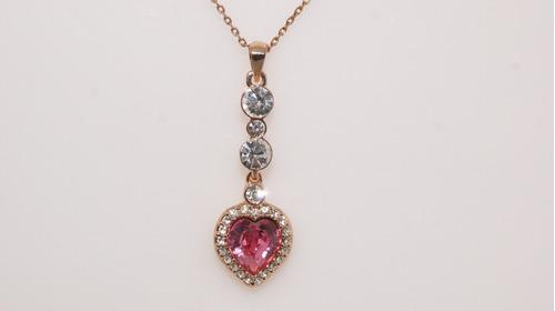 Collar Colgante Con Cristales Swarovski Bañado Oro Rosa 18k
