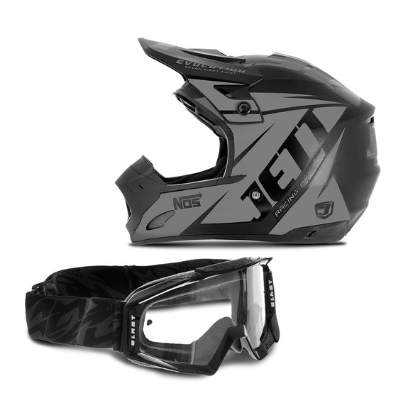 Capacete Motocross Jett Evolution Neon + Óculos Pro Tork